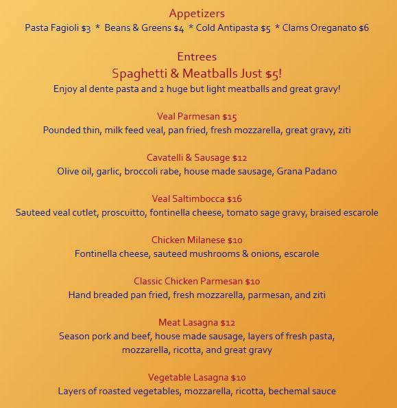 Maestros dinner menu