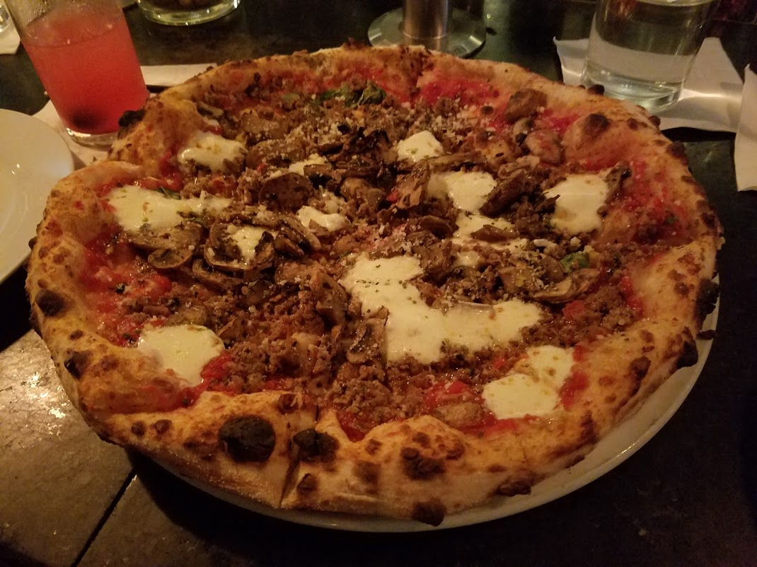 Mushroom and sausage pizza at pizzeria veritas